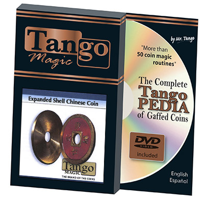 *Expanded Shell Chinese Coin made in Brass (Red) by Tango - Trick (CH007)