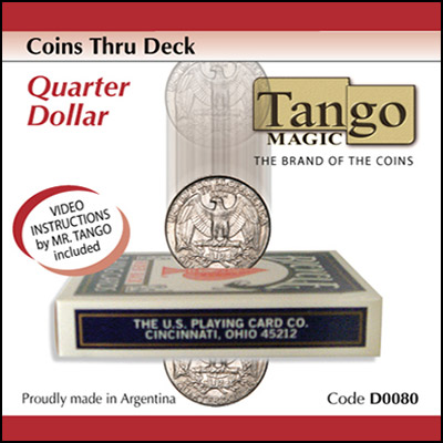 *Coins Thru Deck Quarter by Tango - Trick (D0080)